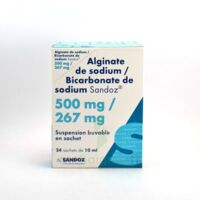 ALGINATE DE SODIUM/BICARBONATE DE SODIUM SANDOZ 500 mg/267 mg, suspension buvable en sachet à PARIS