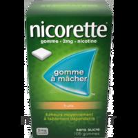 NICORETTE FRUITS 2 mg SANS SUCRE, gomme à mâcher médicamenteuse édulcorée au xylitol et à l'acésulfame potassique à PARIS